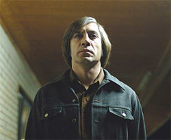 Javier Bardem stars in the Coen Brothers&#039; No Country for Old Men.