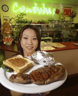 At Cowbobas, waitress Laurie Hang is pleased to meat you.