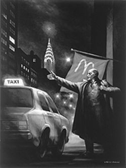 """Lenin Hails a Cab,"" by Vitaly Komar and Alexander Melamid, oil on canvas."
