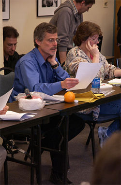CU professor Tom Yulsman at the April 2 meeting.