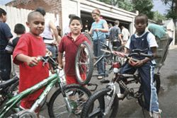 Spin cycle: The bike collective attracted a free-wheeling  community to Lipan Street.