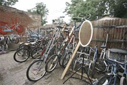 Creative heights: Art bikes decorate Derailer&#039;s back yard.