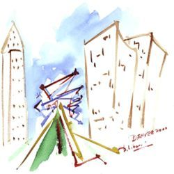 Untitled watercolor of the Hamilton Building by Daniel Libeskind.