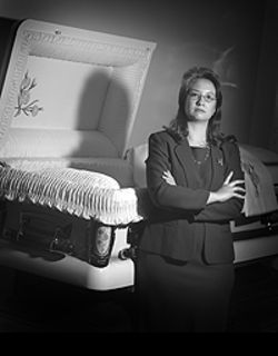 Death-defying: Martha Thayer and the famous  Primrose casket.