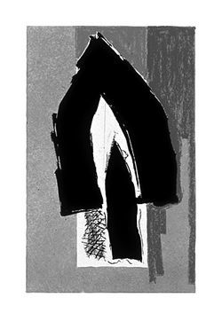 """Black Cathedral,"" by Robert Motherwell, color lithograph."