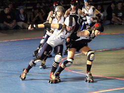 "Gabrielle ""Fonda Payne"" Begeman (left) of the Dolls skates toe-to-toe with Portia ""Frida Beater"" Hensley of the Rollergirls last November in Philadelphia."