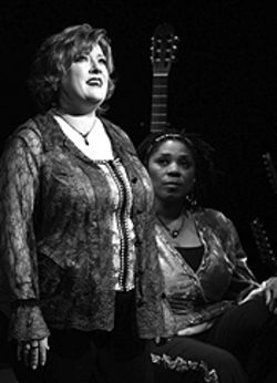 Lisa Asher (left) and Darlene Bel Grayson in  Almost Heaven: Songs and Stories of John  Denver.