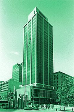 The Western Federal Savings Tower before some of its original features were removed.