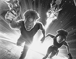 Cale and Akima flee an attacker in Titan A.E.
