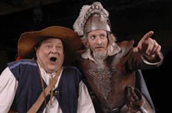 Jimmy Ferraro (left) and Gary Lindemann tilt at  windmills in Man of La Mancha.