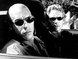 Oh brother, the car: Vin Diesel as Dominick and Paul Walker as Brian get revved in The Fast and the Furious.