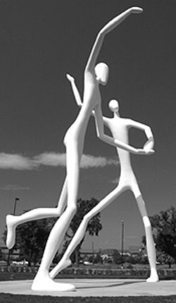 "Jonathan Borofsky's ""The Dancers"" tower over the  Denver Sculpture Park."