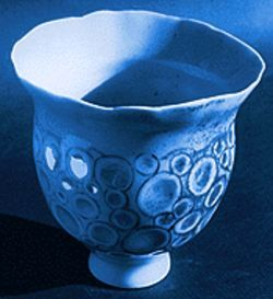 Porcelain bowl with translucent patterns, by Nan McKinnell.
