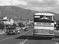 The bus that runs between Salt Lake City and  Steamboat Springs.