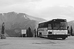 Points of interest just ahead: The Highway 40 bus at 