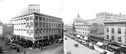 Steel's department store and the Orpheum playhouse in their heyday on Welton Street.