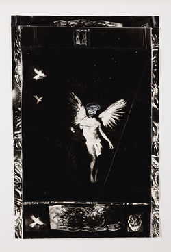 &quot;Saint Michael,&quot; by Wes Kennedy, gelatin silver print with acrylic and mixed mediums.