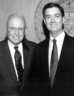 Governor Bill Owens poses with former state Supreme Court justice -- and farmer -- William Erickson.