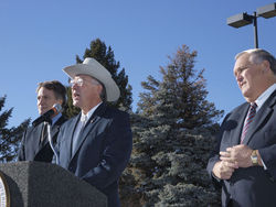 "White hat: In January 2009 Secretary of the Interior Ken Salazar declared an end to ""business as usual"" at MMS, flanked by ethics czar Tom Strickland (left) and DOI Inspector General Earl Devaney."