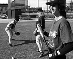 The girls of summer: Theresa MacGregor (from left),  Shari Friant and Wendy Hawthorne limber up.