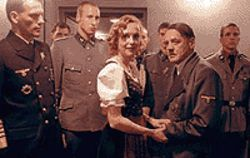 Odd couple: Juliane Köhler with Bruno Ganz as Hitler  as others look on in Downfall.