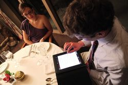 The iPad wine list at the Flasgstaff House restaurant. See photos of the menu options at the Flagstaff House.