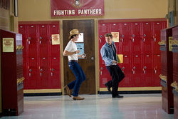 Miles Teller (left) and Kenny Wormald star in Footloose.