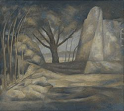 """Organization of Rocks and Trees,"" by John Edward  Thompson, oil on canvas."