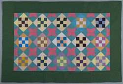 """Nine Patch in Diamond,"" anonymous Black Top Amish maker, cotton quilt."