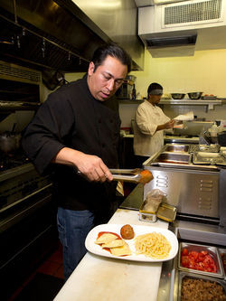 Chef Daniel Ramirez in the kitchen at the revamped Gaetano's.