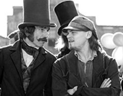 Daniel Day-Lewis and Leonardo DiCaprio get chummy in Gangs of New York.
