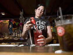 Keli Ramirez pours it on at Pete's Monkey Bar.