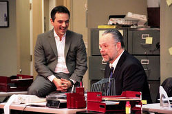 Rick Yaconis and Paul Page in Glengarry Glen Ross.