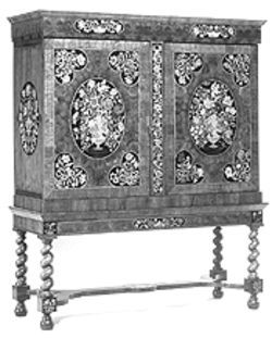 """Cabinet on stretcher stand,"" cabinet with floral parquetry made of ivory, walnut, oak and other woods."