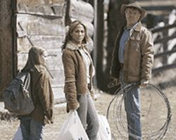 Three's company: Becca Gardner, Jennifer Lopez  and Robert Redford in An Unfinished Life.