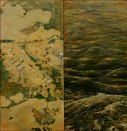 &quot;AE 12 (After Empire),&quot; by Lanny DeVuono, mixed media on panel.