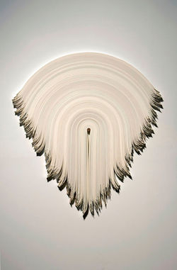 """Untitled 8,"" by Derrick Velasquez, vinyl and walnut."