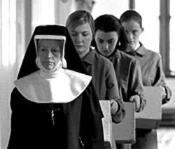 Scary sisters: A nun leads stars Dorothy Duffy,  Nora-Jane Noone and Anne-Marie Duff (left to right) in  The Magalene Sisters.