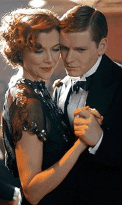 Getting cheeky: Annette Bening and Shaun Evans cut 