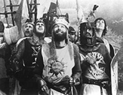 Knight time: The Python crew finds the Middle Ages fair to middling in Monty Python and the Holy Grail.