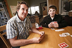 Burke Snowden began playing bridge at age six with his dad, Craig.