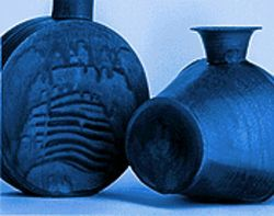 """Pilgrim Bottle"" and ""Rice-bale"" vase, by Takashi Nakazato."