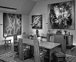 The small exhibition room, which features furniture by  Frank Lloyd Wright, at the Vance Kirkland Museum.
