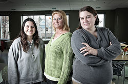 Erica Guzman, Teresa Turner and Stefanie Cardwell rely on the services and shelter of the Gathering Place and the Delores Project.