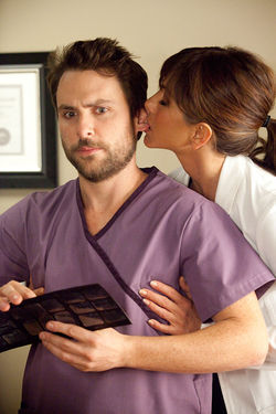 Charlie Day and Jennifer Aniston star in Horrible Bosses.