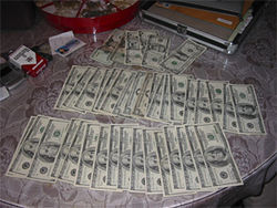 Part of $74,000 in cash found during the raid of a house on Clarkson Circle in Thornton.