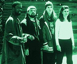 Heaven help them (from left): Chris Rock, Dogma writer/director Kevin Smith, Jason Mewes and Linda Fiorentino.