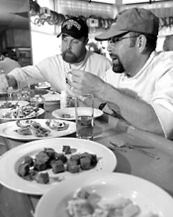Taste test: Tim Bouse (left) and John Duran seek out the elusive umami.