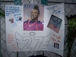 A 2007 makeshift memorial near the spot where Darrent Williams was shot.