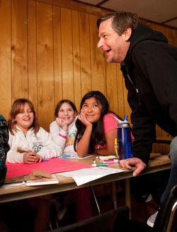 Jamie Moyer talks with girls at Camp Mariposa, a project of the Moyer Foundation. Infographic: Pitcher Jamie Moyer has shut down the Rockies&#039; best hitters